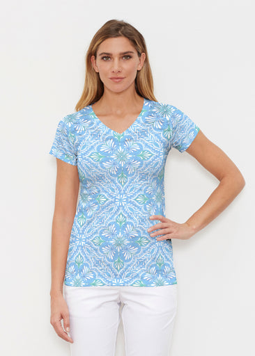 Ceramic Tiles Aqua (7615) ~ Signature Cap Sleeve V-Neck Shirt