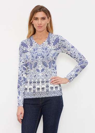 Inzik Blue (7616) ~ Butterknit Long Sleeve V-Neck Top
