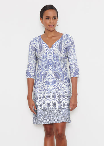 Inzik Blue (7616) ~ Classic 3/4 Sleeve Sweet Heart V-Neck Dress