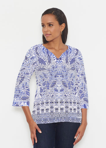 Inzik Blue (7616) ~ Banded 3/4 Bell-Sleeve V-Neck Tunic