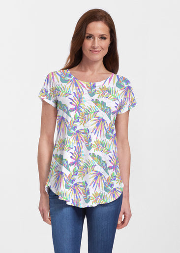 Flat Tropical Multi (7617) ~ Signature Short Sleeve Scoop Neck Flowy Tunic