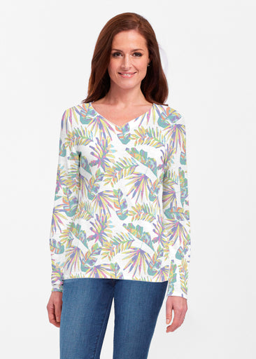 Flat Tropical Multi (7617) ~ Classic V-neck Long Sleeve Top