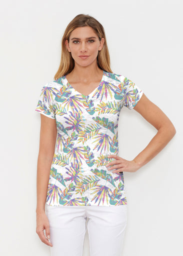 Flat Tropical Multi (7617) ~ Signature Cap Sleeve V-Neck Shirt
