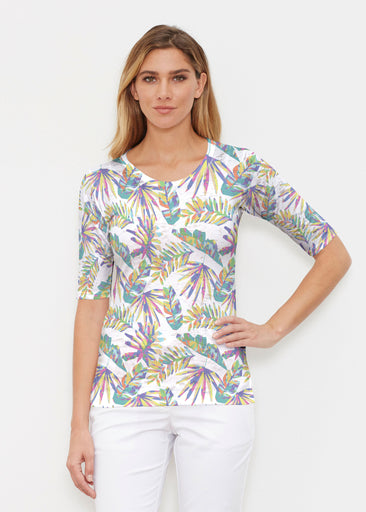 Flat Tropical Multi (7617) ~ Elbow Sleeve Crew Shirt