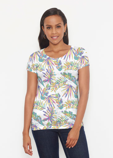 Flat Tropical Multi (7617) ~ Short Sleeve Scoop Shirt