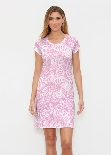Aquatic Floral Pink (7618) ~ Classic Crew Dress