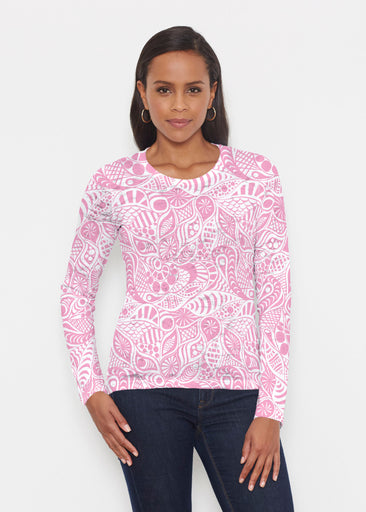 Aquatic Floral Pink (7618) ~ Signature Long Sleeve Crew Shirt