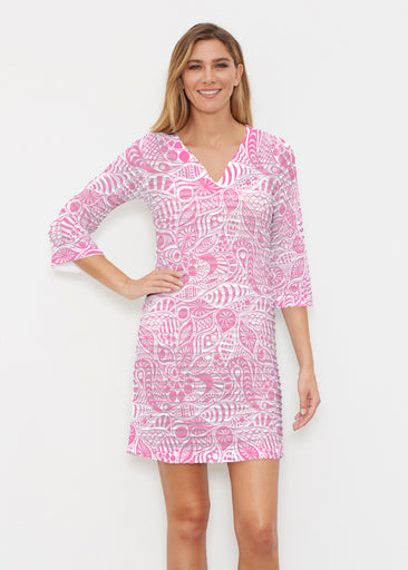 Aquatic Floral Pink (7618) ~ Banded 3/4 Sleeve Cover-up Dress