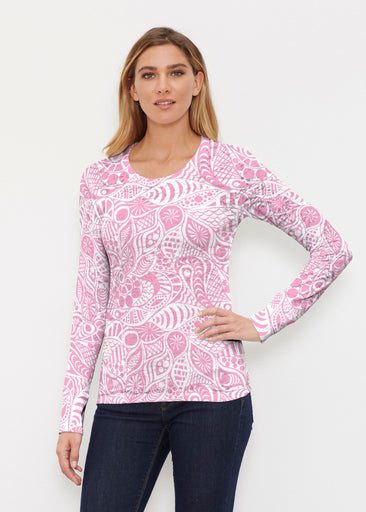 Aquatic Floral Pink (7618) ~ Thermal Long Sleeve Crew Shirt