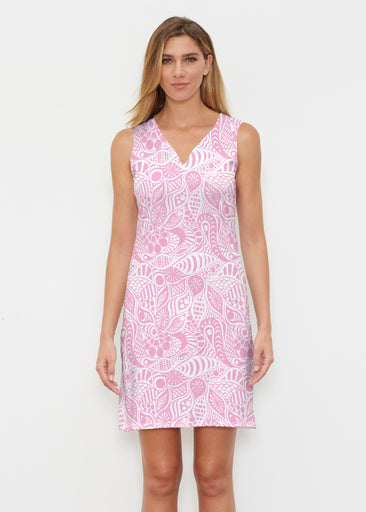 Aquatic Floral Pink (7618) ~ Classic Sleeveless Dress