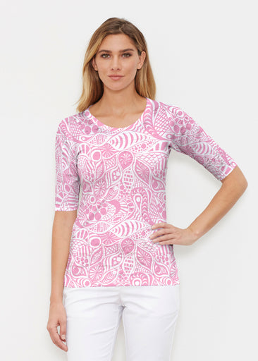 Aquatic Floral Pink (7618) ~ Elbow Sleeve Crew Shirt