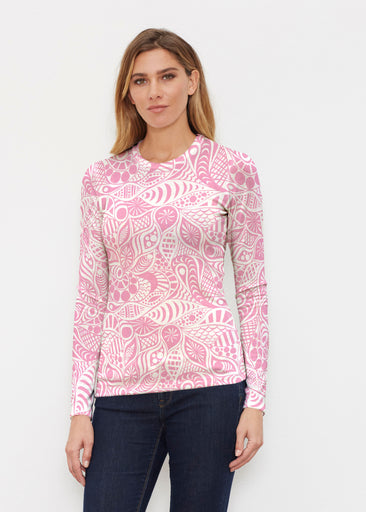 Aquatic Floral Pink (7618) ~ Butterknit Long Sleeve Crew Top