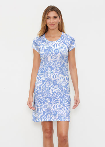 Aquatic Floral Blue (7619) ~ Classic Crew Dress