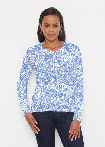 Aquatic Floral Blue (7619) ~ Signature Long Sleeve Crew Shirt