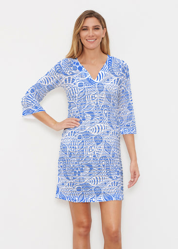 Aquatic Floral Blue (7619) ~ Banded 3/4 Sleeve Cover-up Dress