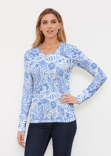 Aquatic Floral Blue (7619) ~ Thermal Long Sleeve Crew Shirt