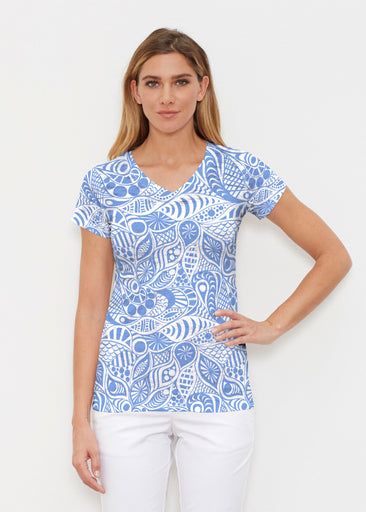 Aquatic Floral Blue (7619) ~ Signature Cap Sleeve V-Neck Shirt