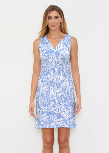 Aquatic Floral Blue (7619) ~ Classic Sleeveless Dress