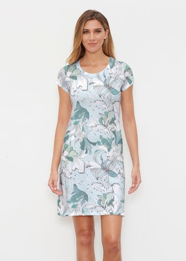 Pen and Ink Lily Seafoam (7621) ~ Classic Crew Dress
