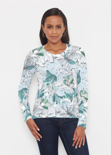 Pen and Ink Lily Seafoam (7621) ~ Signature Long Sleeve Crew Shirt