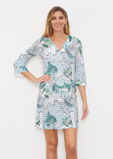 Pen and Ink Lily Seafoam (7621) ~ Banded 3/4 Sleeve Cover-up Dress