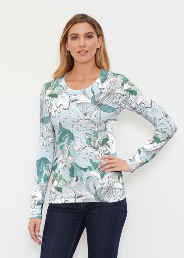 Pen and Ink Lily Seafoam (7621) ~ Thermal Long Sleeve Crew Shirt