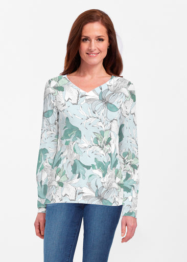 Pen and Ink Lily Seafoam (7621) ~ Classic V-neck Long Sleeve Top