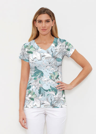 Pen and Ink Lily Seafoam (7621) ~ Signature Cap Sleeve V-Neck Shirt
