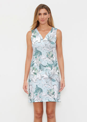 Pen and Ink Lily Seafoam (7621) ~ Classic Sleeveless Dress