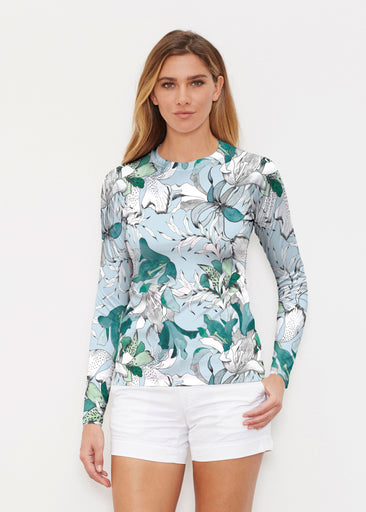 Pen and Ink Lily Seafoam (7621) ~ Long Sleeve Rash Guard