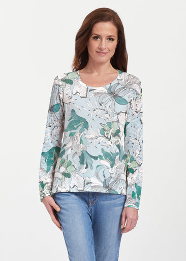 Pen and Ink Lily Seafoam (7621) ~ Texture Mix Long Sleeve