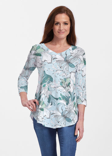 Pen and Ink Lily Seafoam (7621) ~ Signature V-neck Flowy Tunic