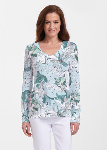Pen and Ink Lily Seafoam (7621) ~ Thermal Long Sleeve V-Neck Shirt