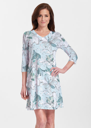 Pen and Ink Lily Seafoam (7621) ~ Classic V-neck Swing Dress