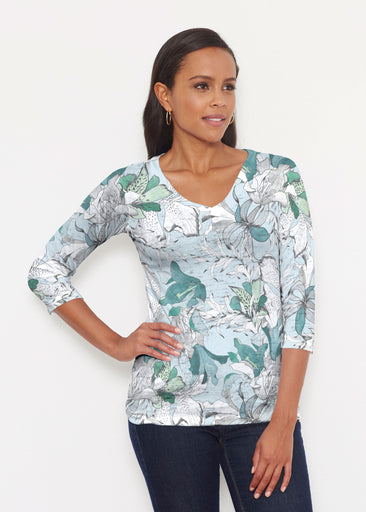 Pen and Ink Lily Seafoam (7621) ~ Signature 3/4 V-Neck Shirt