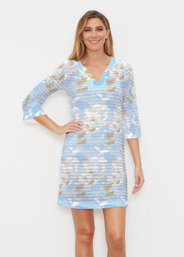 On Blue (7622) ~ Banded 3/4 Sleeve Cover-up Dress