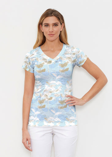 On Blue (7622) ~ Signature Cap Sleeve V-Neck Shirt