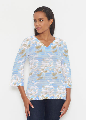 On Blue (7622) ~ Banded 3/4 Bell-Sleeve V-Neck Tunic