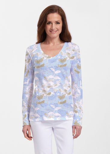 On Blue (7622) ~ Thermal Long Sleeve V-Neck Shirt
