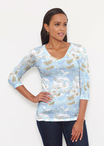 On Blue (7622) ~ Signature 3/4 V-Neck Shirt
