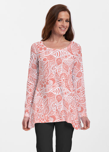Aquatic Floral Orange (7623) ~ Abigail Thermal Tunic