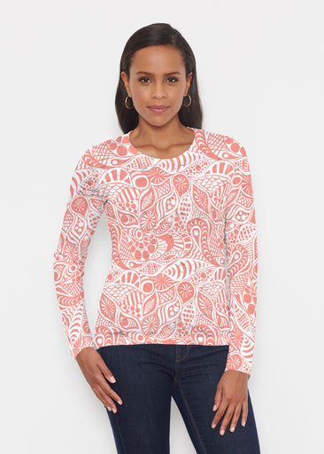 Aquatic Floral Orange (7623) ~ Signature Long Sleeve Crew Shirt