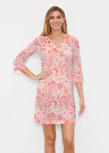 Aquatic Floral Orange (7623) ~ Banded 3/4 Sleeve Cover-up Dress