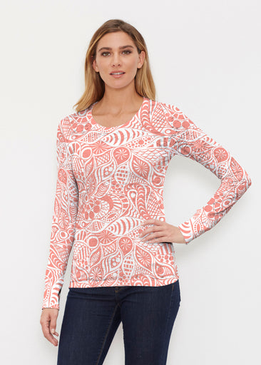 Aquatic Floral Orange (7623) ~ Thermal Long Sleeve Crew Shirt