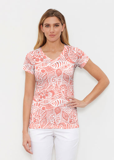 Aquatic Floral Orange (7623) ~ Signature Cap Sleeve V-Neck Shirt