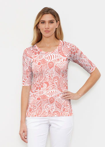 Aquatic Floral Orange (7623) ~ Elbow Sleeve Crew Shirt
