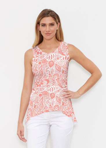 Aquatic Floral Orange (7623) ~ High-low Tank