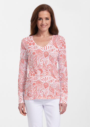 Aquatic Floral Orange (7623) ~ Thermal Long Sleeve V-Neck Shirt