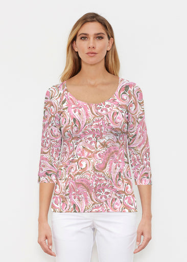 Handpainted Paisley Pink (7624) ~ Signature 3/4 Sleeve Scoop Shirt