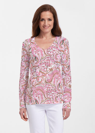 Handpainted Paisley Pink (7624) ~ Thermal Long Sleeve V-Neck Shirt